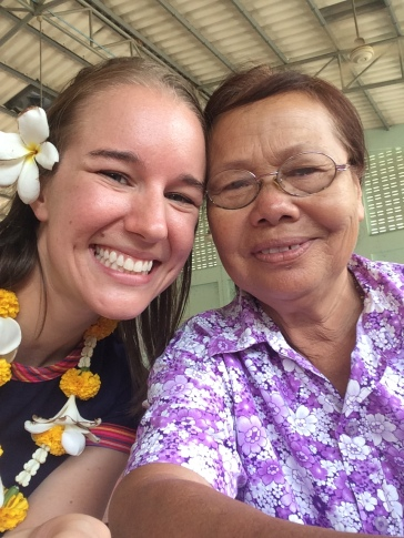 Mae and me at our farewell party. Among other things, I thanked her for teaching me to cook Thai food and promised that her pork fried rice would always be my favorite!